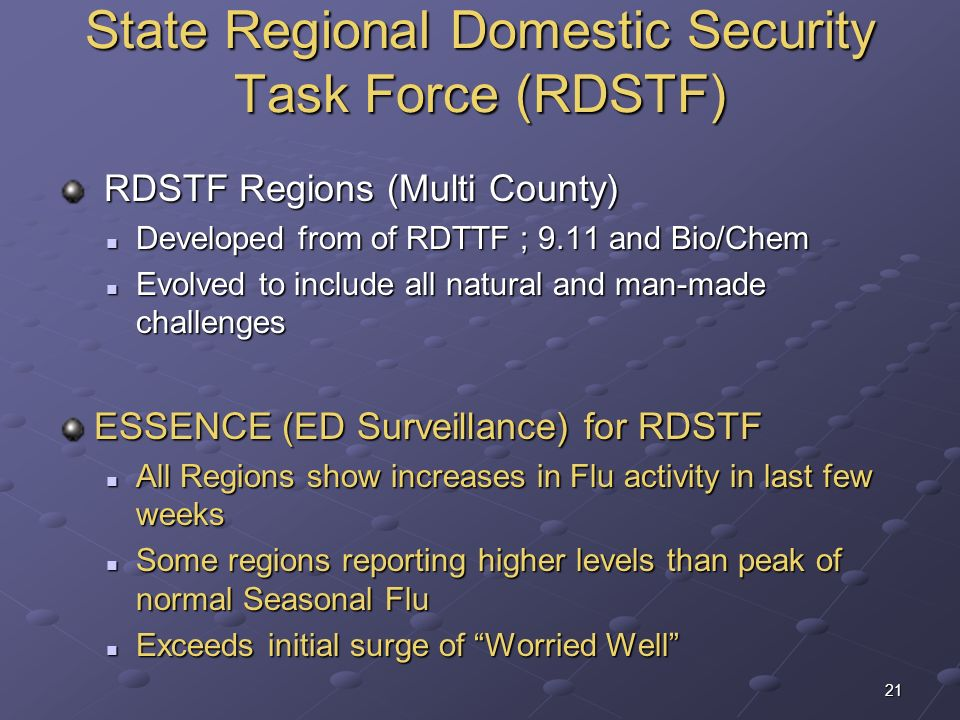State Regional Domestic Security Task Force (RDSTF)