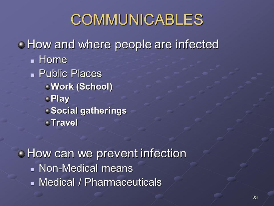 COMMUNICABLES How and where people are infected