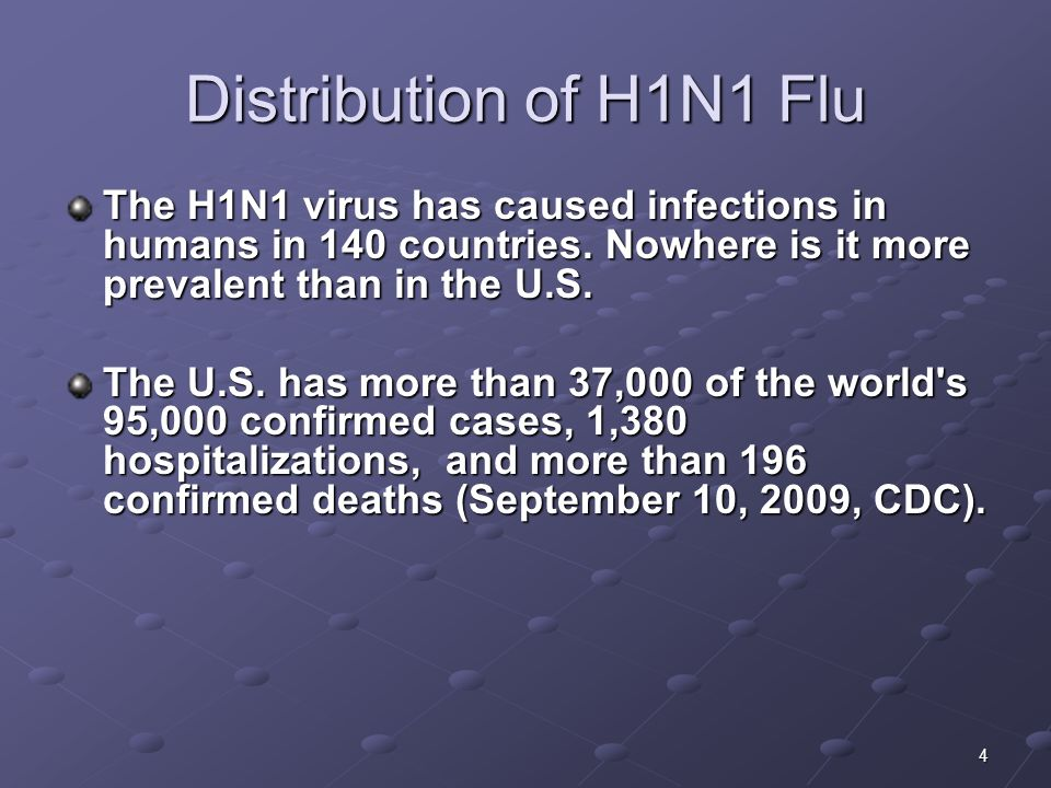 Distribution of H1N1 Flu The H1N1 virus has caused infections in humans in 140 countries. Nowhere is it more prevalent than in the U.S.