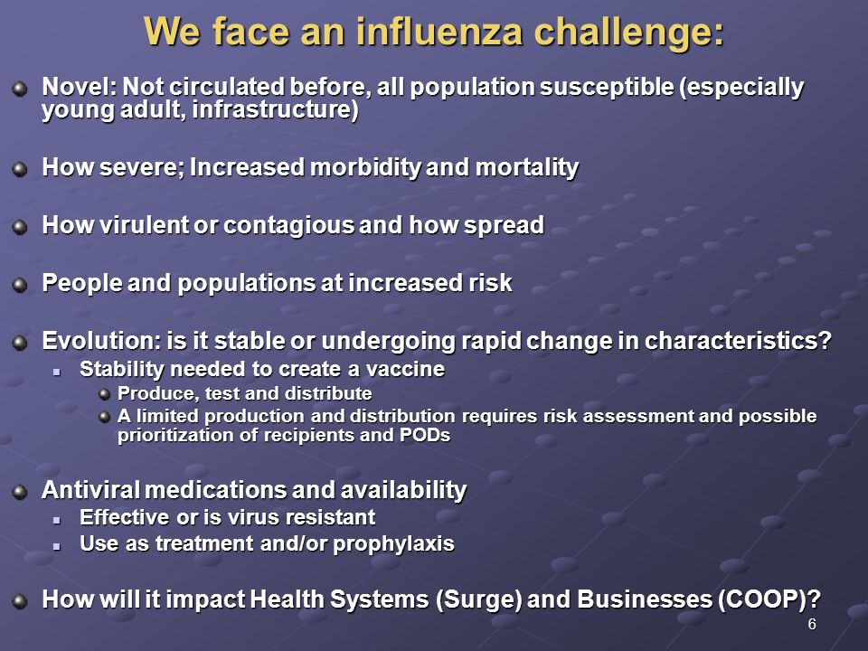 We face an influenza challenge: