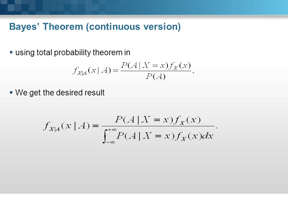 Bayes' Theorem (continuous version)