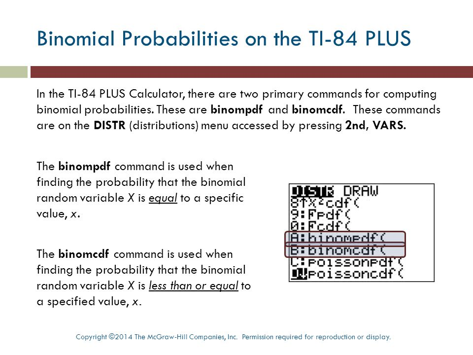 Binomial Probabilities on the TI-84 PLUS
