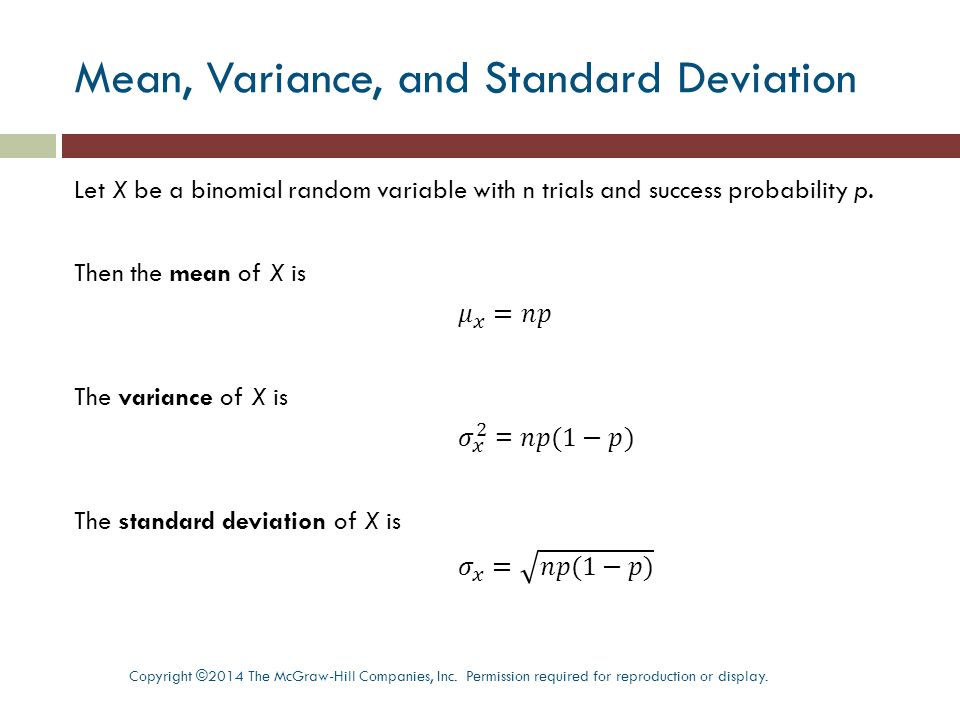 Mean, Variance, and Standard Deviation