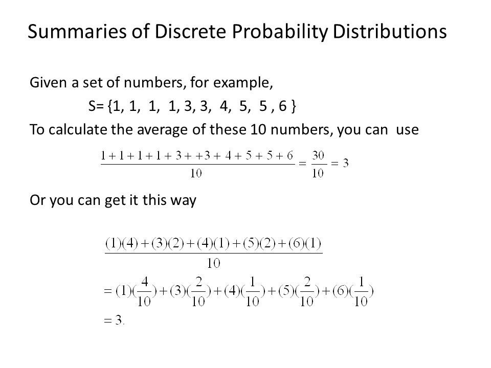 Summaries of Discrete Probability Distributions