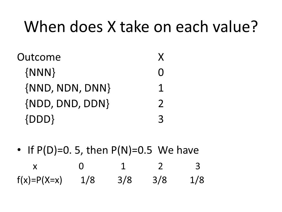 When does X take on each value