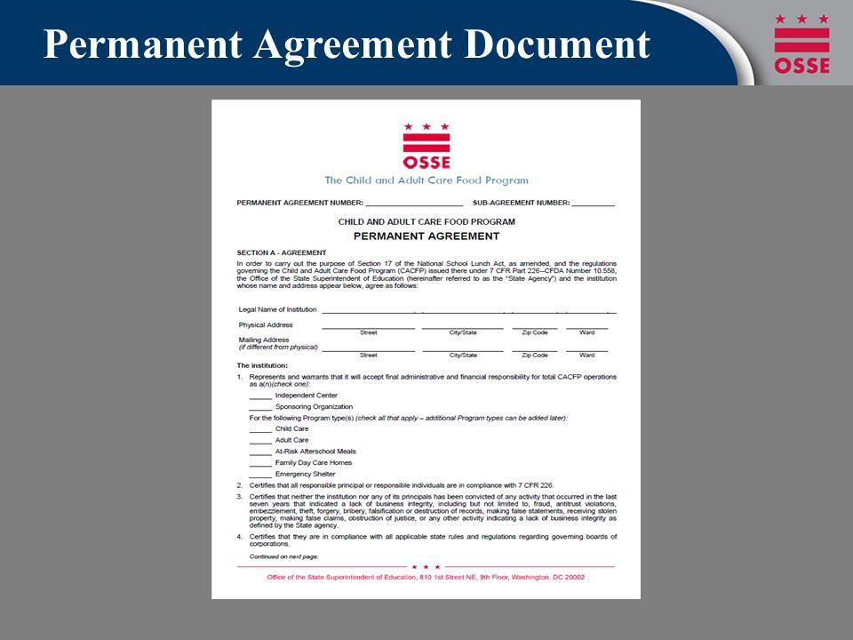 Permanent Agreement Document