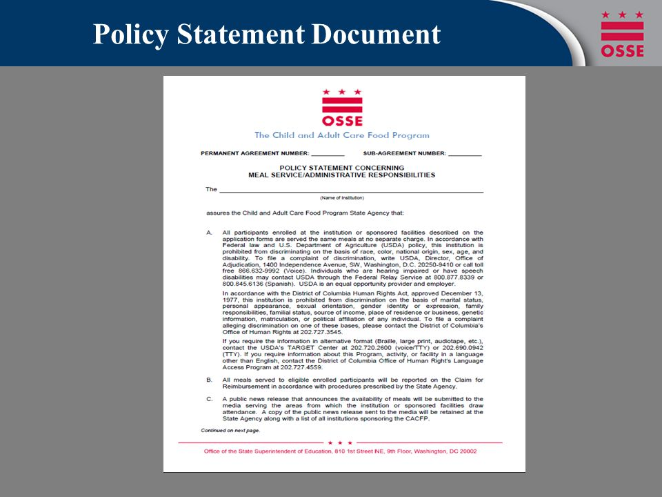 Policy Statement Document