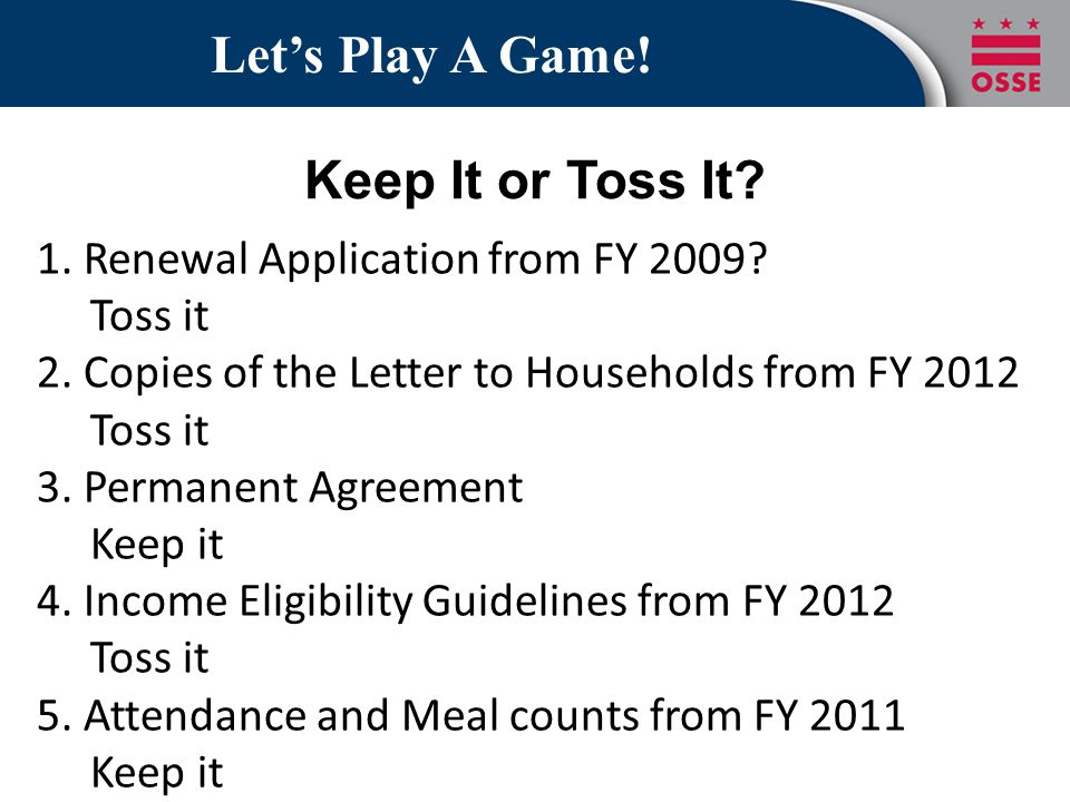 Let's Play A Game! Keep It or Toss It