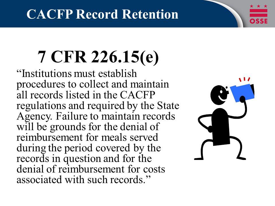 CACFP Record Retention