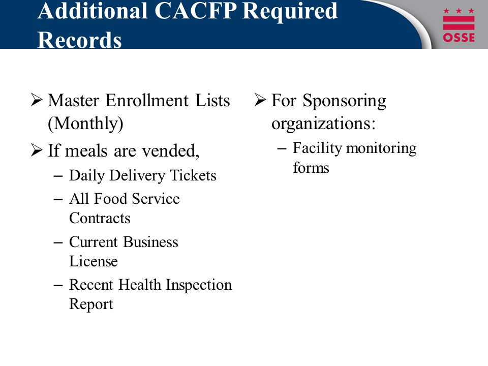 Additional CACFP Required Records