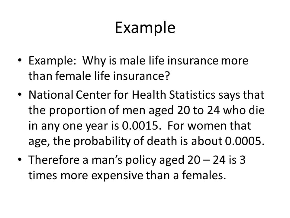 Example Example: Why is male life insurance more than female life insurance