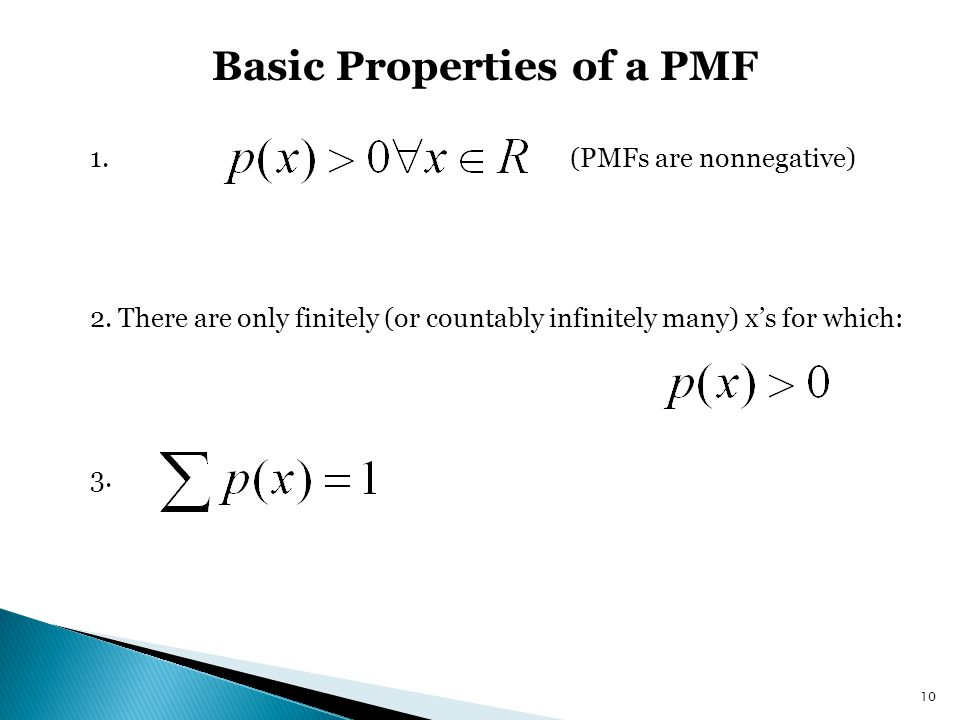 Basic Properties of a PMF