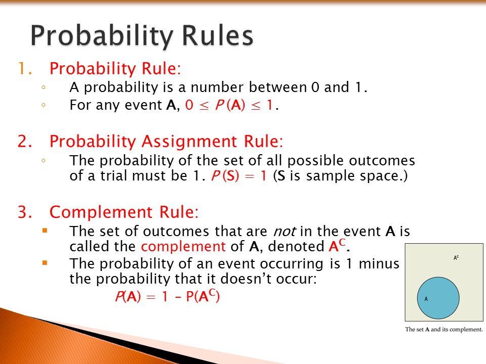 Probability Rules Probability Rule: Probability Assignment Rule: