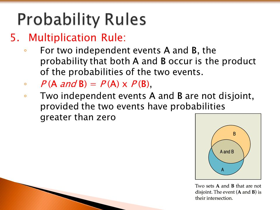 Probability Rules Multiplication Rule: