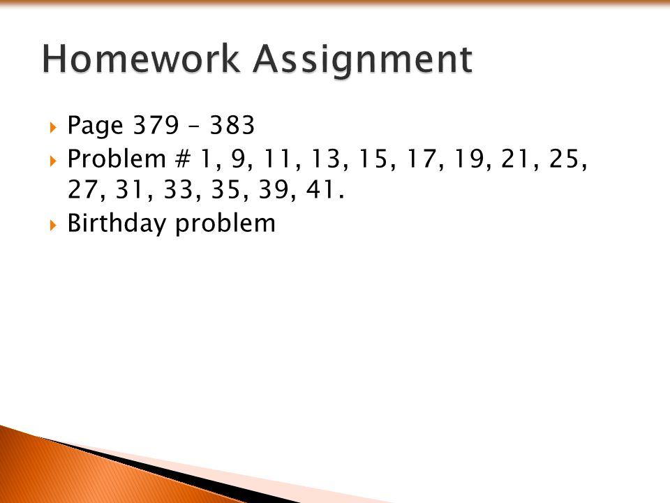 Homework Assignment Page 379 – 383