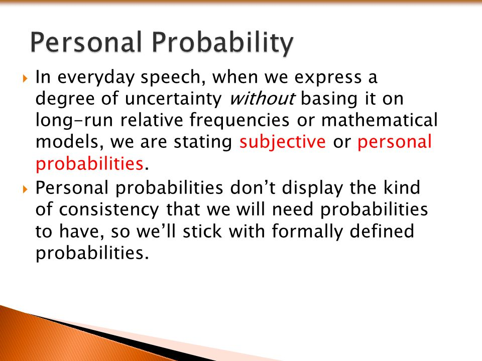 Personal Probability