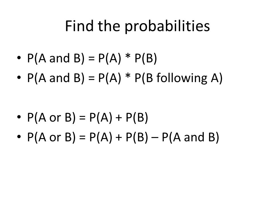 Find the probabilities