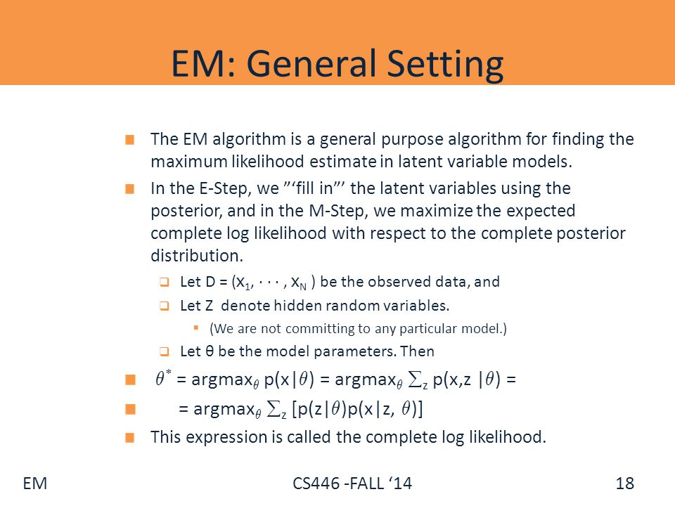 EM: General Setting µ* = argmaxµ p(x|µ) = argmaxµ z p(x,z |µ) =