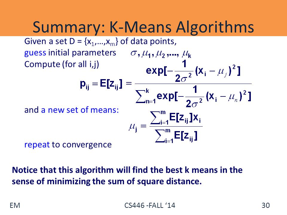 Summary: K-Means Algorithms