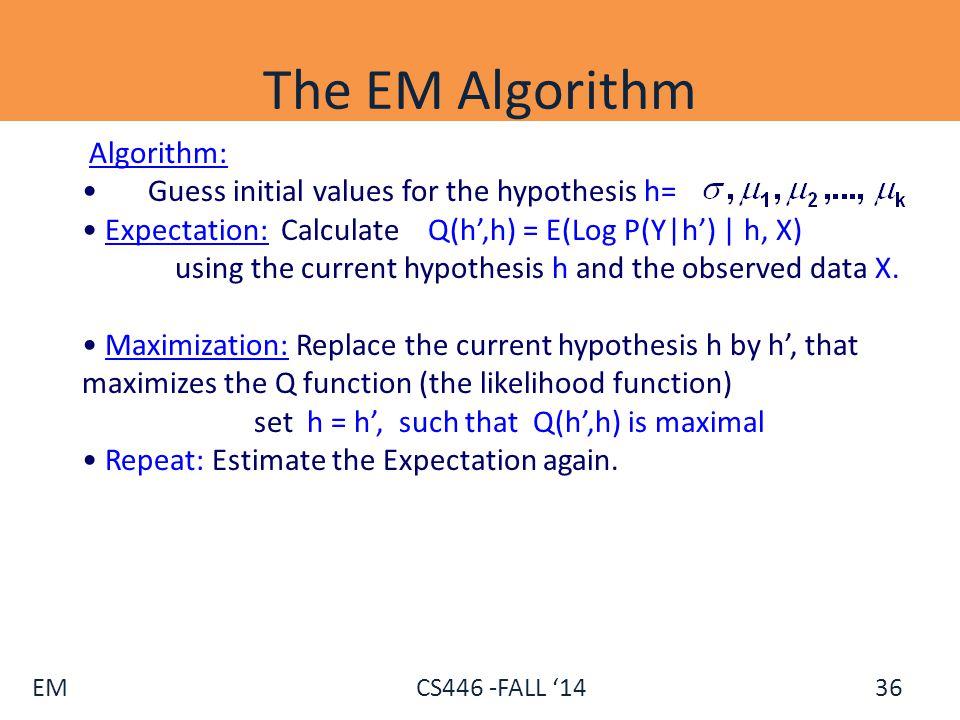 The EM Algorithm Algorithm: Guess initial values for the hypothesis h=