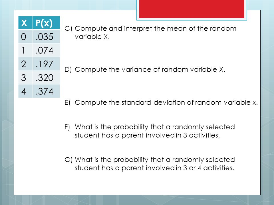 X P(x) .035. 1. .074. 2. .197. 3. .320. 4. .374. Compute and interpret the mean of the random variable X.