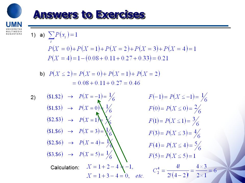 Answers to Exercises a) b) 2) Calculation: