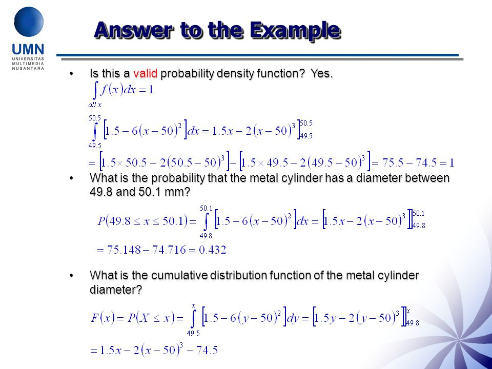 Answer to the Example Is this a valid probability density function Yes.