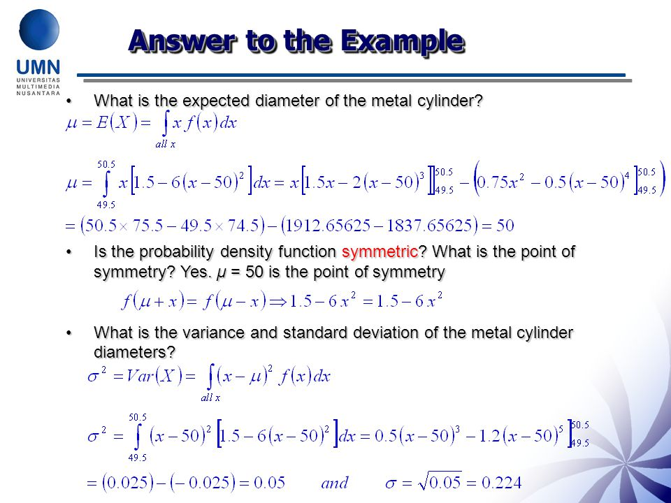 Answer to the Example What is the expected diameter of the metal cylinder