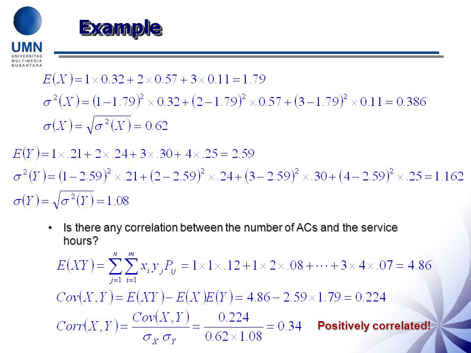Example Is there any correlation between the number of ACs and the service hours.