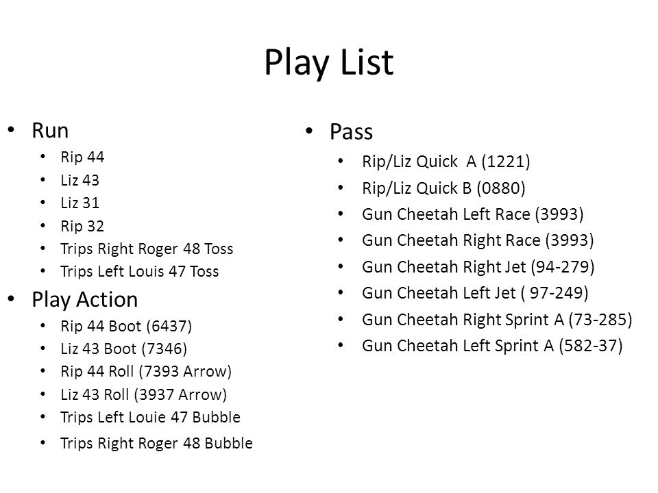 Play List Pass Run Play Action Rip/Liz Quick A (1221)