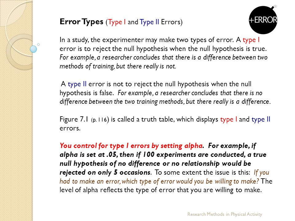 Error Types (Type I and Type II Errors)