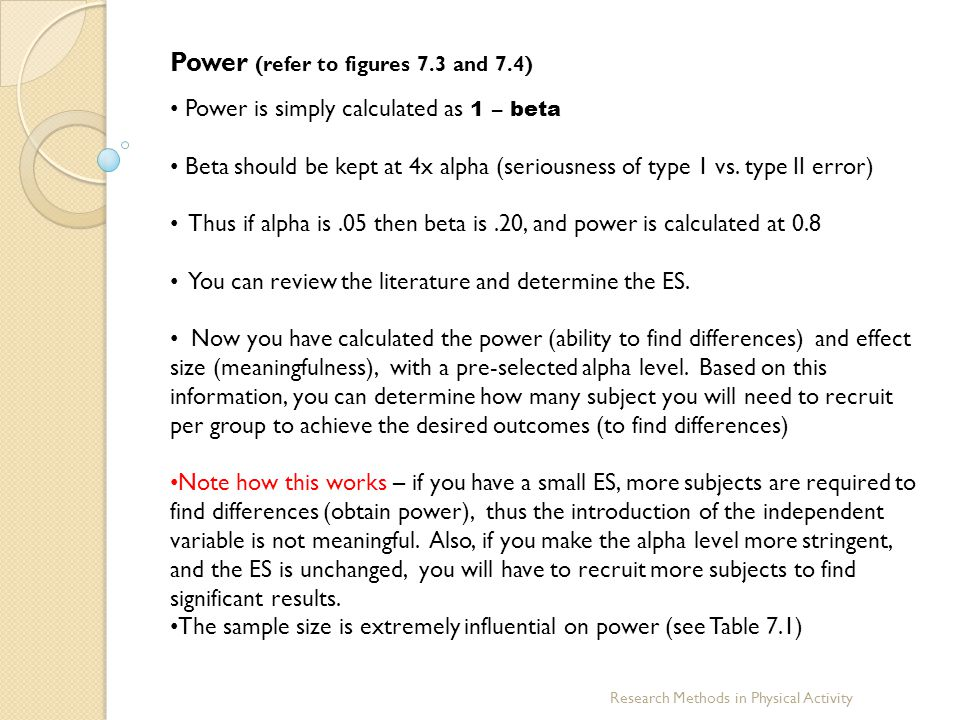 Power (refer to figures 7.3 and 7.4)