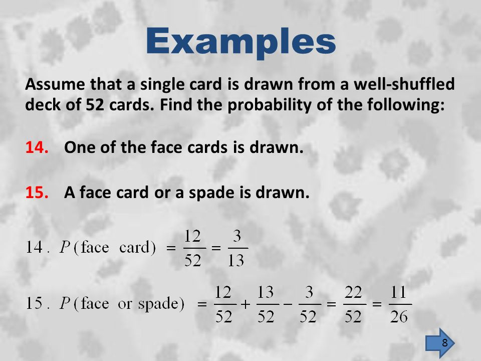 Examples Assume that a single card is drawn from a well-shuffled