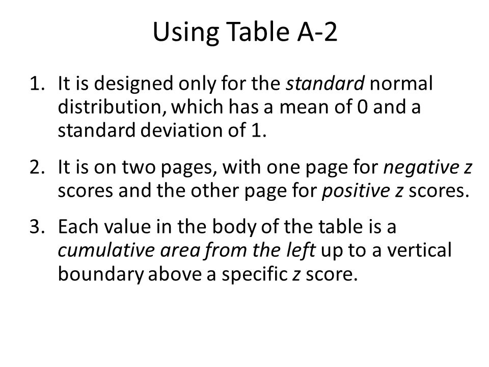 Using Table A-2 It is designed only for the standard normal distribution, which has a mean of 0 and a standard deviation of 1.
