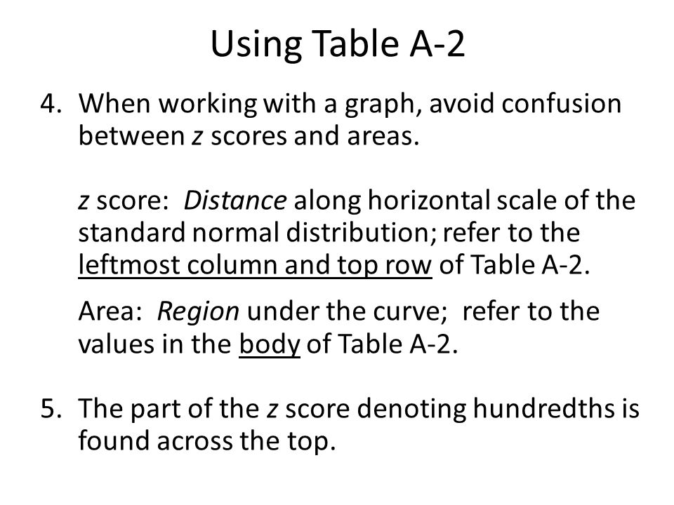 Using Table A-2 4. When working with a graph, avoid confusion between z scores and areas.
