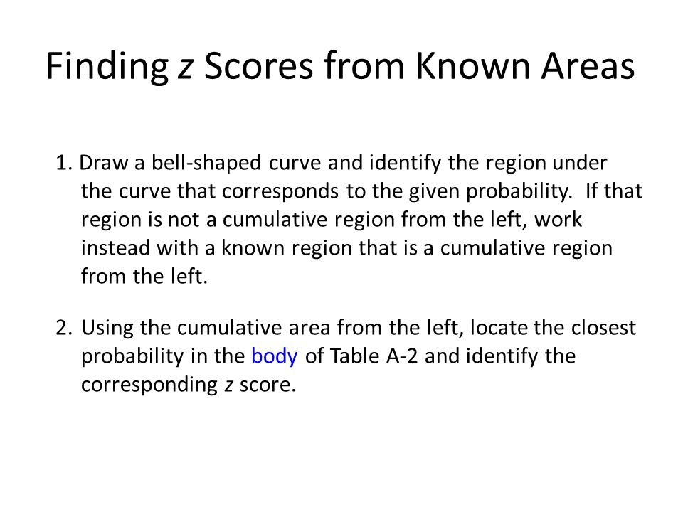 Finding z Scores from Known Areas