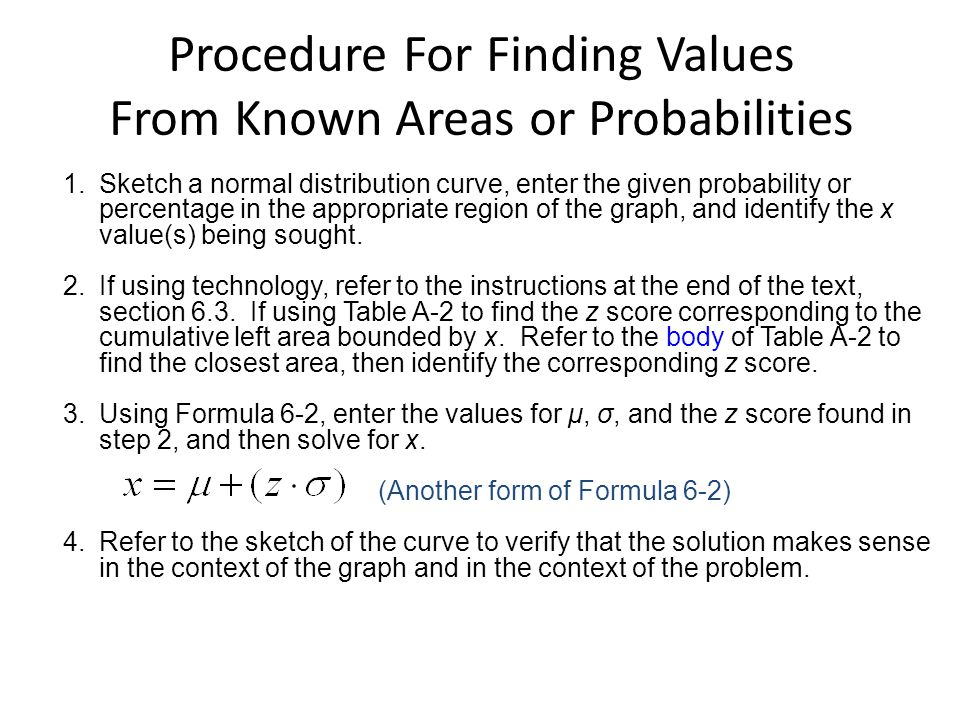 Procedure For Finding Values From Known Areas or Probabilities