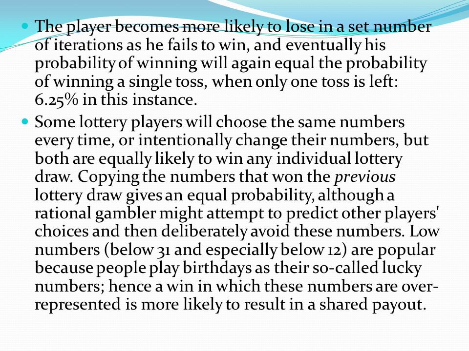 The player becomes more likely to lose in a set number of iterations as he fails to win, and eventually his probability of winning will again equal the probability of winning a single toss, when only one toss is left: 6.25% in this instance.