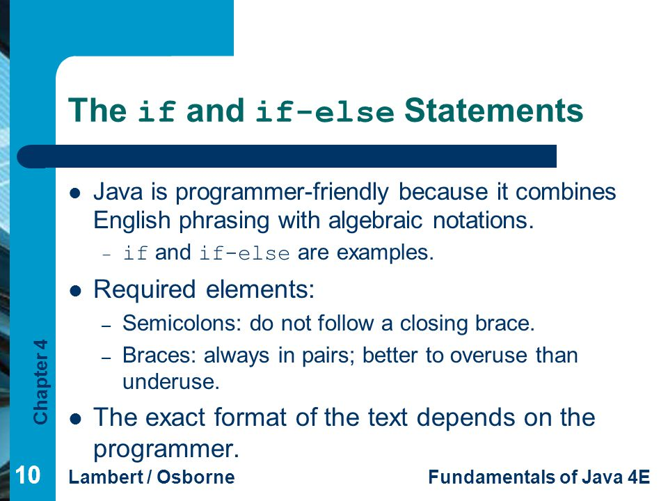 The if and if-else Statements