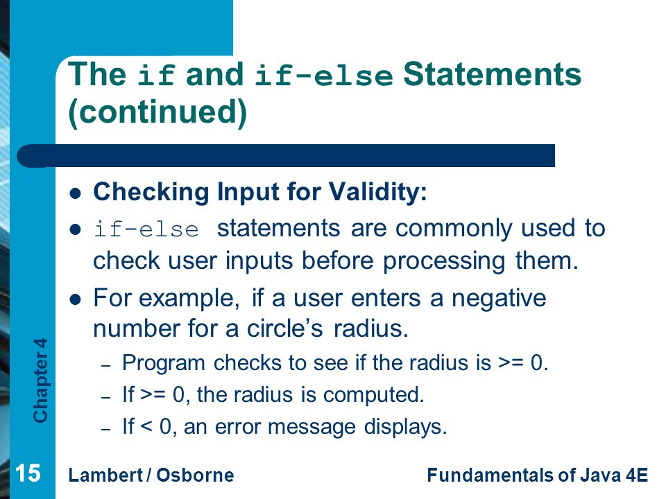 The if and if-else Statements (continued)