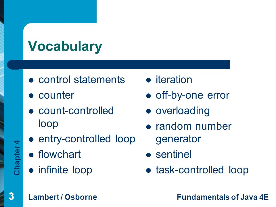 Vocabulary control statements counter count-controlled loop