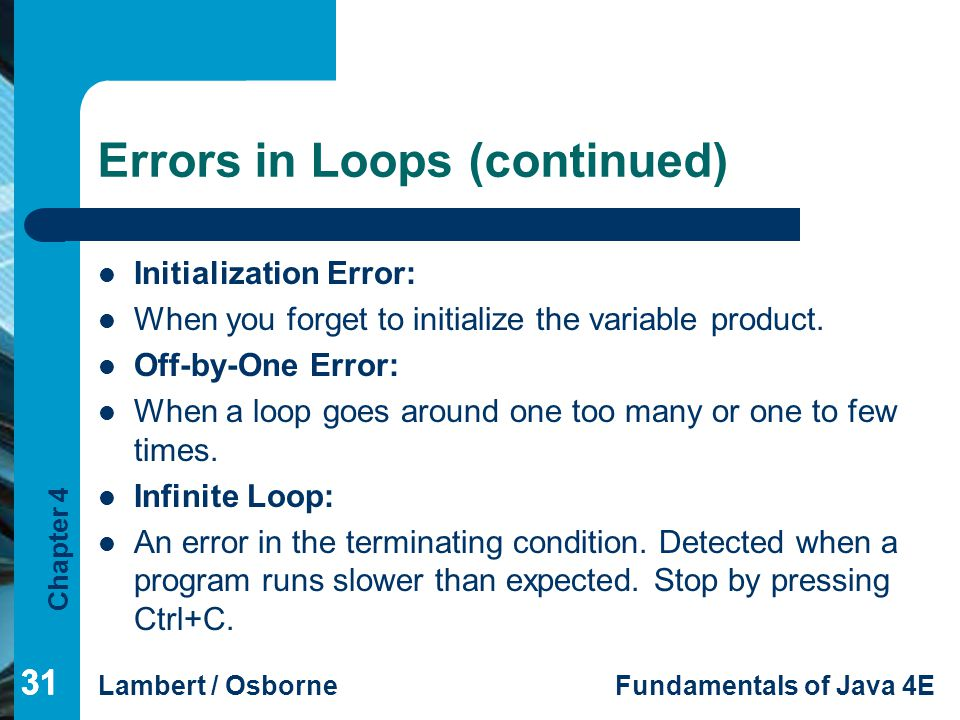 Errors in Loops (continued)