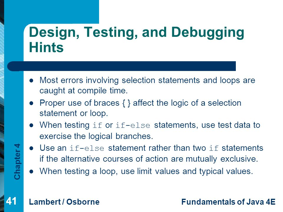 Design, Testing, and Debugging Hints