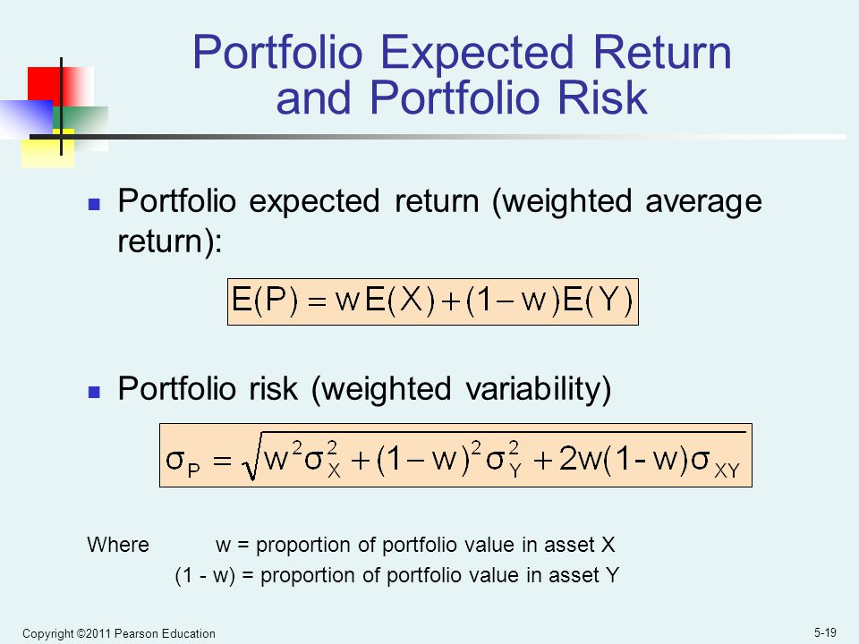 expected portfolio return and risk Expected return of a portfolio   ex ante expected return calculations are based on probabilities of the future states of nature and the expected return in each .