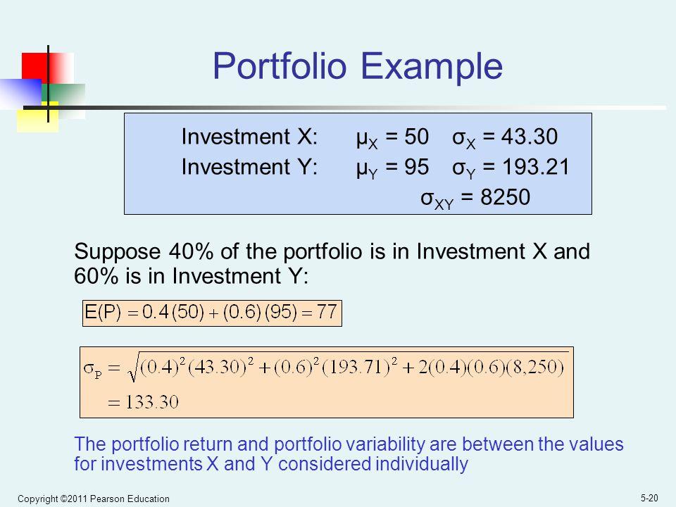 Portfolio Example Investment X: μX = 50 σX = 43.30