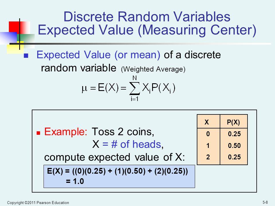Discrete Random Variables Expected Value (Measuring Center)