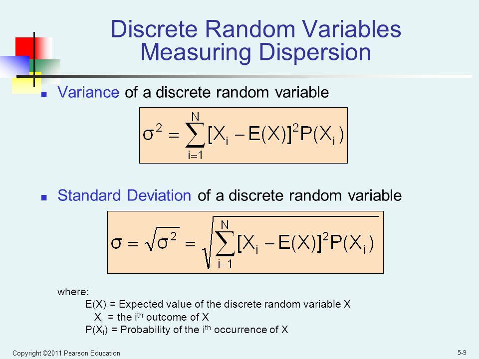 Discrete Random Variables Measuring Dispersion