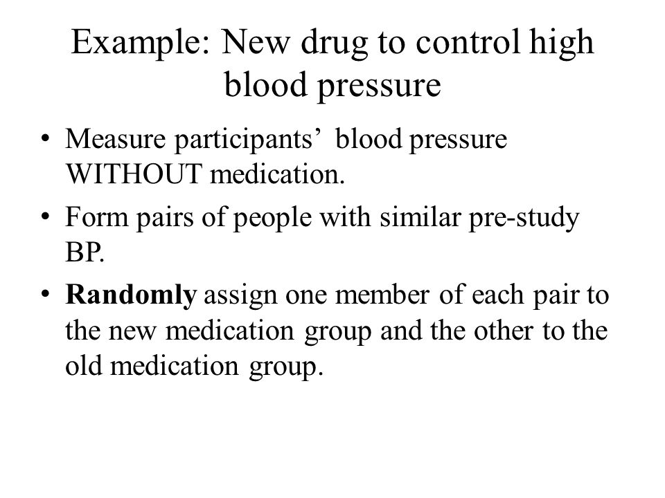 Example: New drug to control high blood pressure