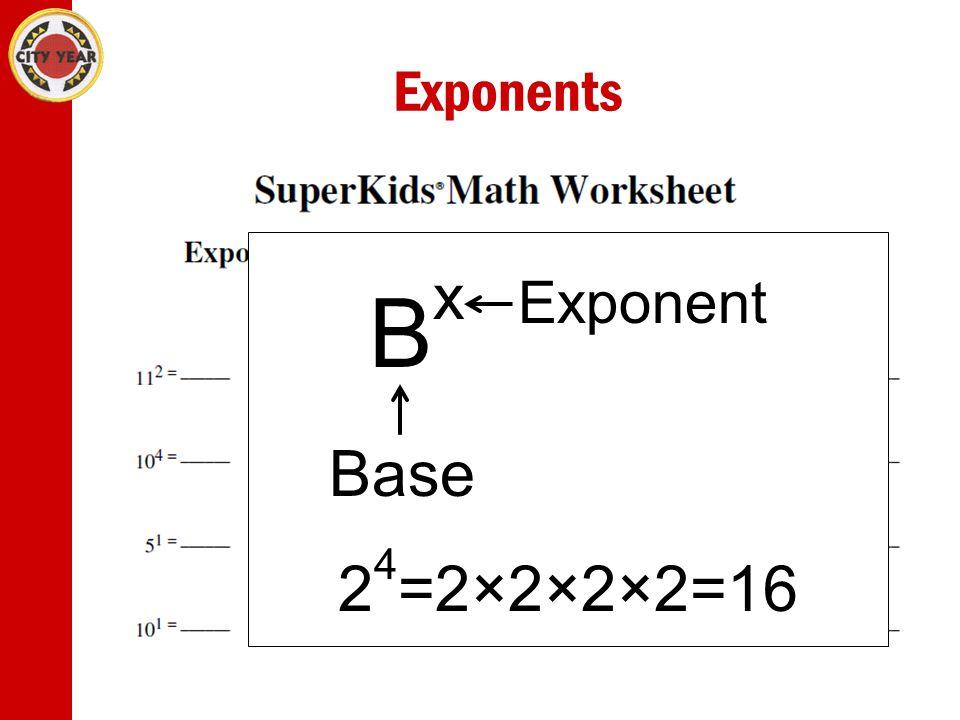 Exponents Bx Exponent Base 24=2×2×2×2=16