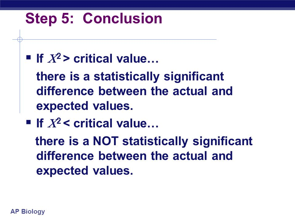 Step 5: Conclusion If 2 > critical value…